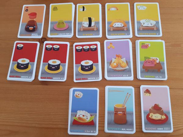 Alle speelkaarten in Sushi Go