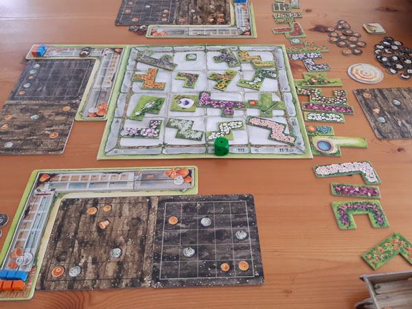 Cottage Garden startopstelling met drie spelers