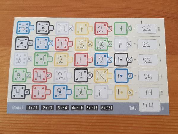 Twenty One volleTwenty One vol scoreblad speelkaart