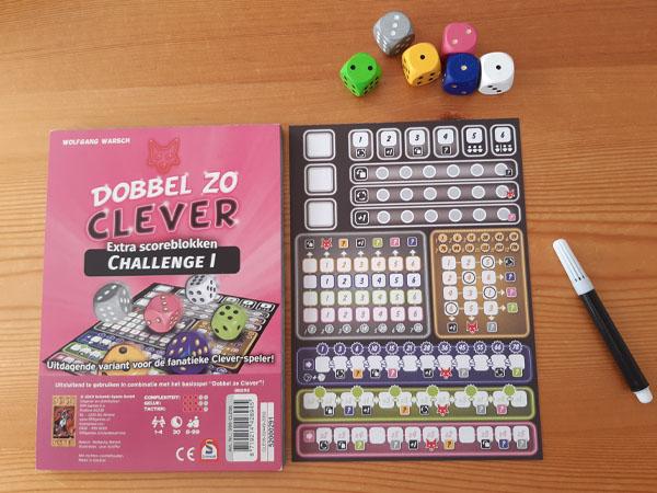 Dobbel zo Clever Challenge 1 inhoud van de doos